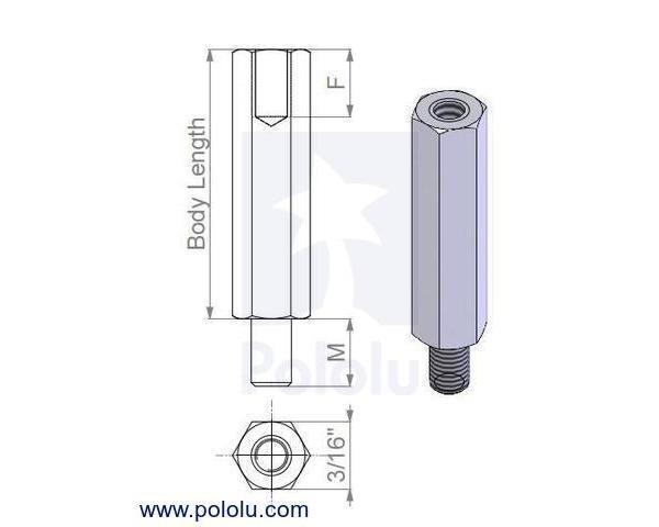 Aluminum Standoff: 1-1/2 (inches) Length, 2-56 Thread, M-F (4-Pa