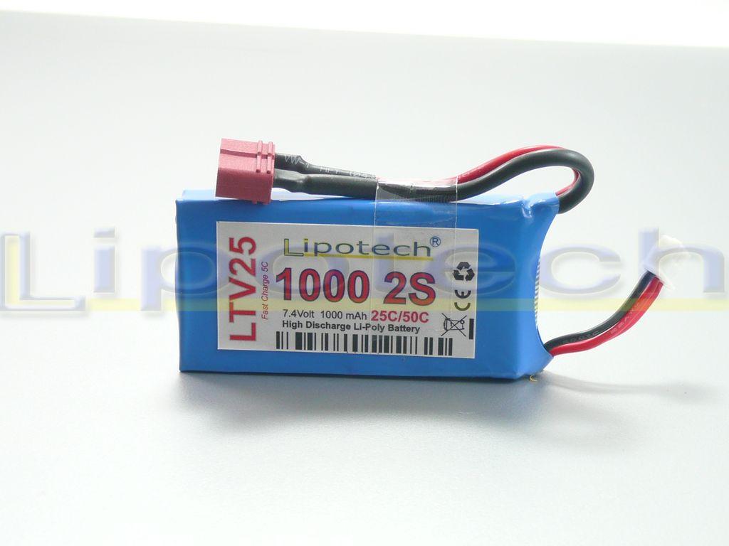 Batteria LIPO (polimeri di litio) LTV25 1000 mAh 7,4 Volt Deans
