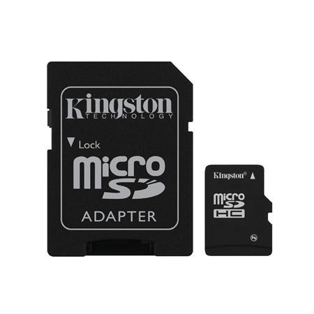 MICRO SDHC KINGSTON 4GB CL4 CON ADATTATORE SD E MICRO SD