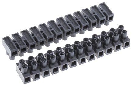 Morsettiera 12 vie 8mm 2 file 8mm 24A 400 V, lunghezza 73.7 mm,