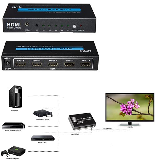SWITCH 5 PORTE HDMI 2.0 4KX2K@60HZ CON TELECOMANDO (UN VIDEO CON