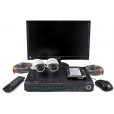 Set di videosorveglianza con DVR + 2 telecamere + monitor TFT