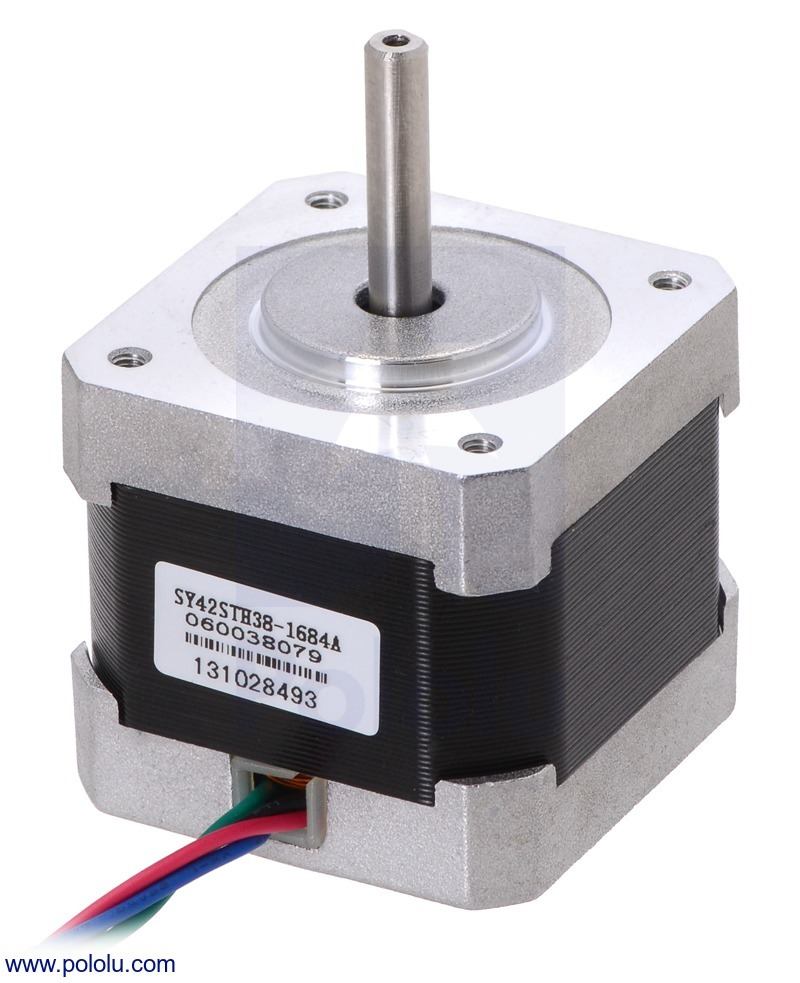 Stepper Motor: Bipolar, 200 Steps/Rev, 42×38mm, 2.8V, 1.7 A/Phas