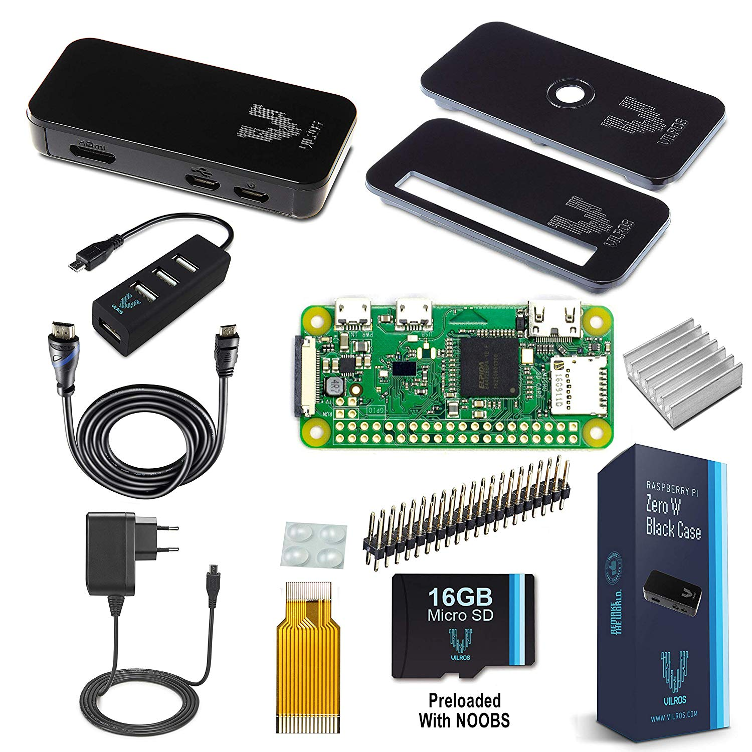 Vilros Raspberry Pi Zero W Complete Starter Kit with Black Case-