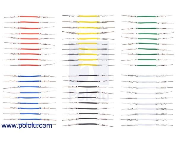 Wires with Pre-crimped Terminals 60-Piece 6-Color Assortment M-M