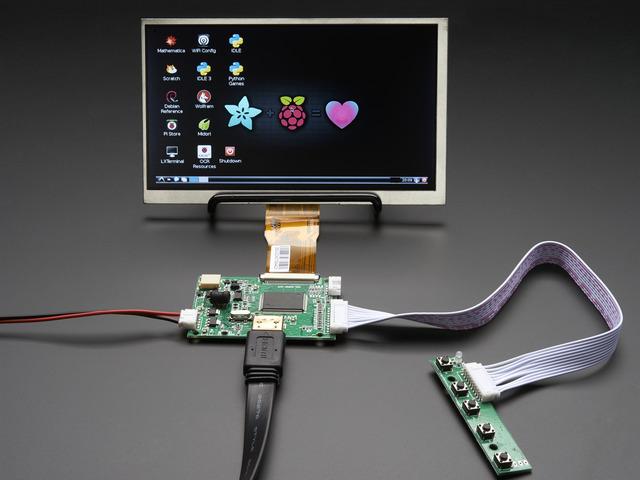 HDMI 4 Pi 7 Display no Touchscreen 1024x600 w/ Mini Driver