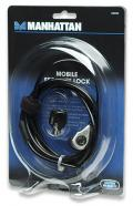 Cavo di sicurezza acciaio con serratura 1.8mt PVC Nero