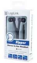 Auricolari Stereo Zipper con Microfono e Telecomando Neri