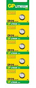 Blister 5 Batterie Litio a Bottone CR1216