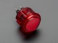Arcade Button - 30mm Translucent Red
