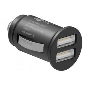 Caricatore Compatto da Auto 2 porte USB max.12W/2.4A Nero
