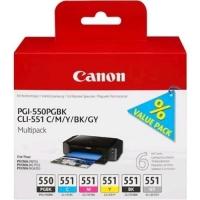 CANON MULTIPACK PGI-550 PGBK + CLI-551 (NERO + CIANO + MAGENTA +