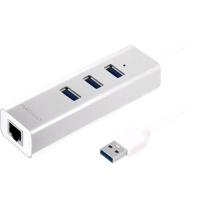 MACALLY U3HUBGBA HUB DI ALLUMINIO 3 PORTE USB 3.0 CON ADATTATORE