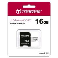 TRANSCEND TS16GUSD300S-A MICRO SDHC 16GB CLASSE 10 + ADATTATORE