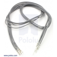 Wires with Pre-crimped Terminals 5-Pack M-F 24 (inches) Gray