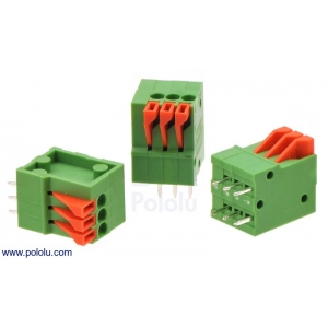 Screwless Terminal Block: 3-Pin, 0.1″ Pitch, Top Entry (3-Pack