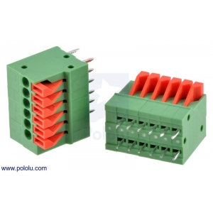 Screwless Terminal Block: 6-Pin, 0.1″ Pitch, Top Entry (2-Pack