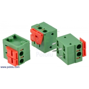 Screwless Terminal Block: 2-Pin, 0.2″ Pitch, Side Entry (3-Pac