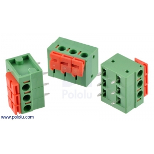 Screwless Terminal Block: 3-Pin, 0.2″ Pitch, Side Entry (3-Pac