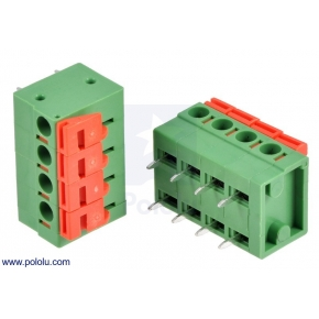 Screwless Terminal Block: 4-Pin, 0.2 (inches) Pitch, Side Entry
