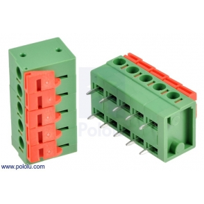 Screwless Terminal Block: 5-Pin, 0.2″ Pitch, Side Entry (2-Pac