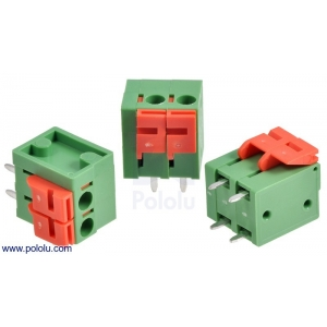 Screwless Terminal Block: 2-Pin, 0.2″ Pitch, Top Entry (3-Pack