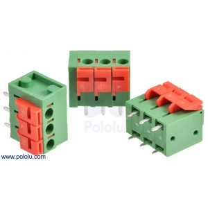 Screwless Terminal Block: 3-Pin, 0.2″ Pitch, Top Entry (3-Pack