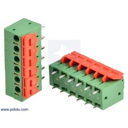 Screwless Terminal Block: 6-Pin, 0.2″ Pitch, Top Entry (2-Pack