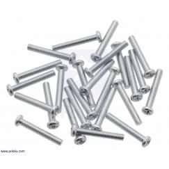 Machine Screw: M3, 20mm Length, Phillips (25-pack)
