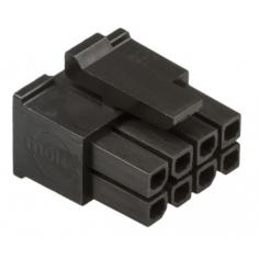 Corpo connettore Molex femmina, 8 vie, 2 file, passo 3mm, (5pcs)