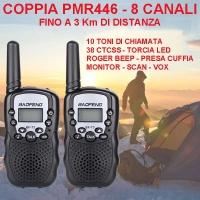 Coppia di ricetrasmettitori PMR446 a 8 canali - 3 km
