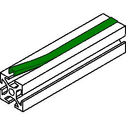 Slot cover 6mm for 20x20 Aluminum extrusions - Green ( per meter
