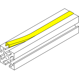Slot cover 8mm for 30x30 Aluminum extrusions - Yellow ( per mete
