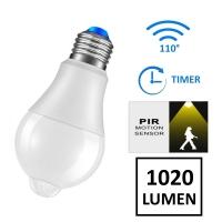 Lampada LED 12W con PIR e crepuscolare - bianco freddo
