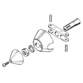 Ogiva alluminio 30 mm asse Ø 2,3 (spess. 5 mm)