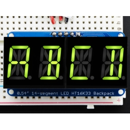 Quad Alphanumeric Display -Yellow-Green 0.54 Digits w/ Backpack