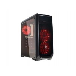 CASE MID-TOWER NO PSU NOOB X2 BLK 1USB3 2USB2 PLEXIGLASS RED FAN