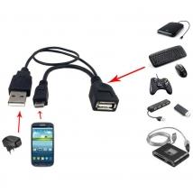 Cavo USB A F 2.0 OTG Micro USB M con Alimentazione USB, 30cm Ner