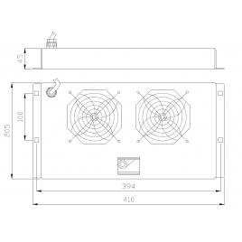 Gruppo di Ventilazione a Soffitto per Rack 19   2 Ventole Grigio