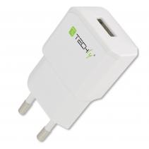 Caricatore USB 2,1A Compatto Spina Europea 2pin Bianco
