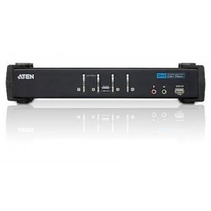 Switch KVM USB DVI a 4 Porte con Audio e Hub USB, CS1764A