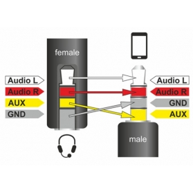 Cavo Audio 3.5   M/F 4Pin Convertitore di Assegnazione Pin 17,5c