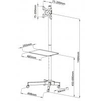 Supporto a Pavimento con Mensola Trolley TV LCD/LED/Plasma 19  -