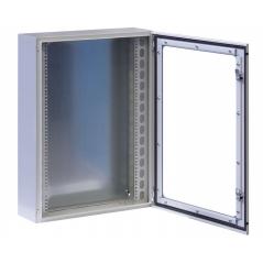 Armadio Rack 19   a muro 13U grigio IP65 porta vetro prof. 200mm