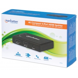 Splitter HDMI 4K UHD 3D con LED 4 vie