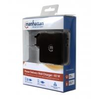 Alimentatore 60W con porte USB-C e USB-A Nero