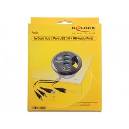 Hub USB 3.0 3 porte + Audio HD In-Desk Diametro 6 cm