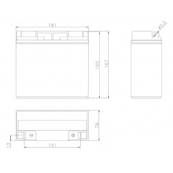 Batteria Piombo-Acido 12V 17,0Ah (Attacco a vite), BSP12V-17F3