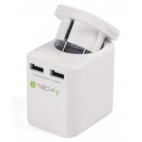 Adattatore da Viaggio 2 porte USB 2,4A Bianco