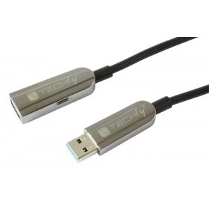 Cavo USB 3.0 SuperSpeed AOC in Fibra Ottica USB A M/F 100m Nero